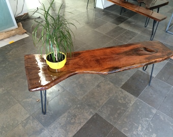 Hairpin Legs with reclaimed finished hardwood