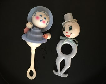 1950s Baby Rattles Girl and Clown Faces