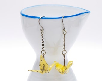 Origami earrings crane in yellow recycled paper on thin bronze chain eco-friendly jewelry -Made to order