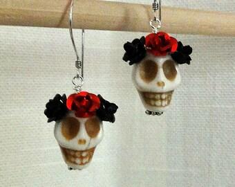 Dia de los Muertos Earrings - White Skull w/ Black & Red Flowers