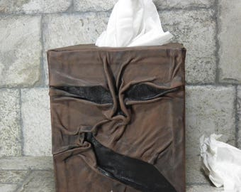 Necronomicon Tissue Box Holder Tissue Cover Black Brown Leather Monster Day Of The Dead Book Of The Dead 268