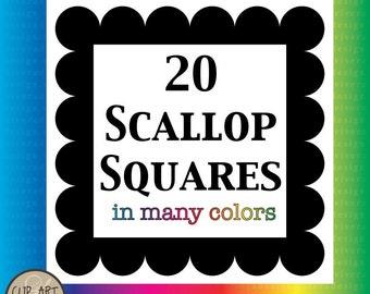 Digital Clip Art - 20 Scallop Square Frames in Many Colors