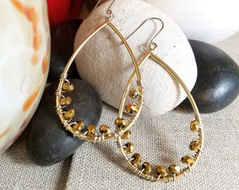 Gold & Bronze Hoop Earrings, Wire Wrapped Gold Teardrop Earrings, Mixed Metal Hoop Earrings, Nickel Free Earwires, Handmade Jewelry