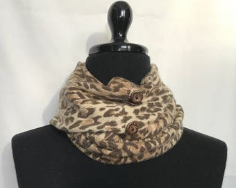 Animal Print Infinity Cashmere Wool Scarf made from an Upcycled Sweater