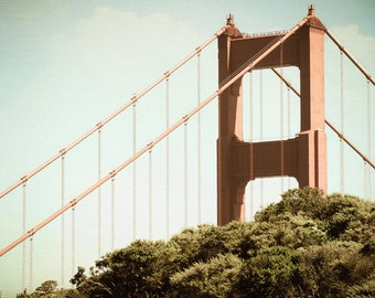 Golden Gate Bridge Photograph - San Francisco Photography - Vintage, Green, Teal, Red - California Photo, - Retro Photo