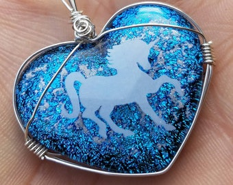 Cremation Jewelry Dichroic Heart Unicorn Ashes InFused Glass Memorial Pendant Pet