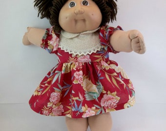 "Cabbage Patch Doll  Dress and Panties Red Tropical Flowers and Birds 16 "" Doll Outfit Toys"