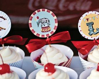 Circus Carnival Party Circles, Cupcake Toppers - Printable