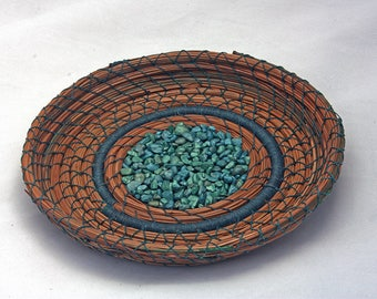 Pine Needle Basket with Teal Rocks - Item 798 by Susan Ashley