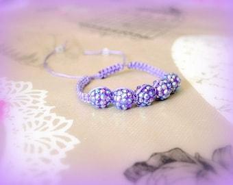 Bracelet style shamballa mauve purple hand-made Designer