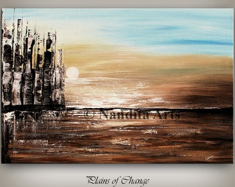 Brown large Birch Tree Landscape Abstract Art by Nandita, Surreal Landscape Painting Modern Fine Art Gallery Canvas Art