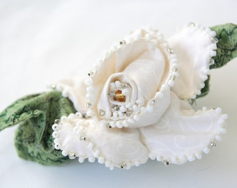 Gardenia Corsage/Boutonnière Set, Handmade Fabric Flower Corsage, Corsage for Prom, Eco Friendly Wedding, Bridal Bouquet, White Rose