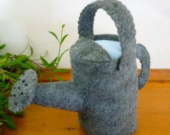 Felt Watering Can Toy, Felt Garden Toy, Pretend Garden Toy, Toy for Felt Vegetable Garden