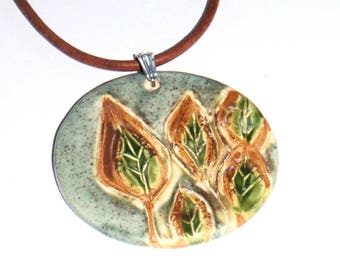 Blue with Yellow and Green Trees Handmade Ceramic Pendant Necklace