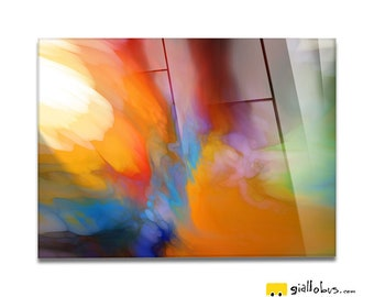 Plexiglass square Prints on acrylic glass-abstract Design-Color Sunset-Yellow BUS