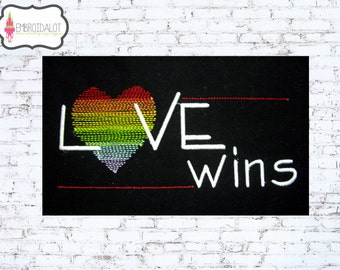 Love wins embroidery design. A fun LGBT embroidery. Heart in sketchy rainbow embroidery. Gay pride embroidery. Love embroidery.