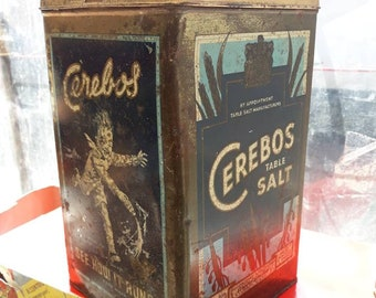 Vintage 1950's large 'Cerebos table salt Tin '