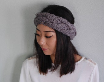 Braided Cable Knit Headband | Chunky Cable Boho Earwarmer