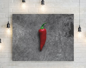 fresno chili // food photography print // canvas print // kitchen wall art // dining room wall art // rustic wall art // peppers