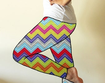 Made to order leggings - Colours of spring chevron leggings - available in sizes XS, S, M, L, XL and custom sizes - kezbirdie