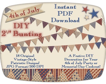 BUNTING-Garland-4th of July Printables-Pennant Banner-Patriotic Digital Download-Party Supplies-Vintage Independence Day BBQ-DIY Decorations