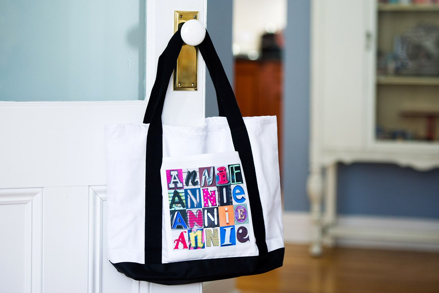 Custom Tote Bags featuring ANY NAME in photos of alphabet sign letters; Personalized canvas tote bag; Teacher tote bags; Bridesmaid gift