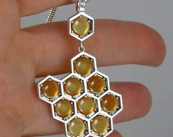 HONEYCOMB silver pendant with Citrines and white sapphires