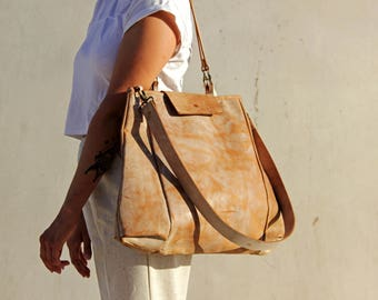 Brown leather Tote, Leather tote, Tote bag, Women leather bag, Oversize bag, Camel leather bag, tote handbag, leather shoulder bag
