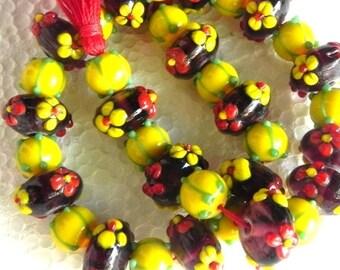 "21"" long Lampwork handmade Yellow,Red,trans Fuchsia Beads string / beading craft/jewelry craft/craft supplies/jewellery making"