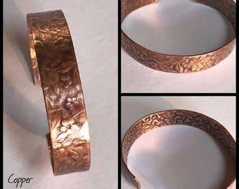 Handmade Copper Bracelet with Floral Etching