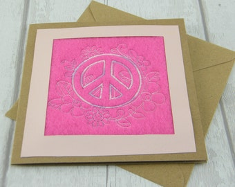 Embroidered Greetings Card - CND Design on Pink Background