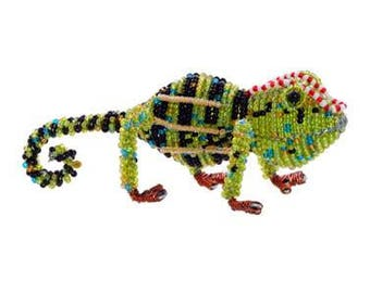 African Fair Trade Small Beaded Chameleon - Wireworx wire and glass beaded animal