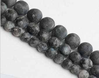 Frosted black larvikite round loose DIY gemstone beads strand 16'' 4mm 6mm 8mm 10mm 12mm