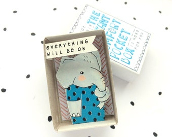 Elefant - Instant Komfort Pocket Box - alles ist ok - Trost oder jubeln Box - Sympathie, Geschenk