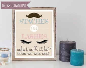 Gender Reveal Party Baby Mustaches or Lashes 8x10 INSTANT DOWNLOAD