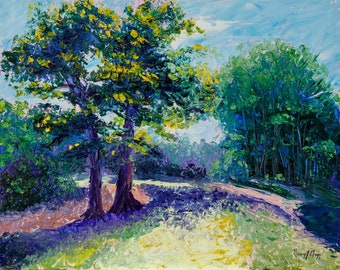 Impressionist oil paintingA Walk in Hudson Park original Impressionistic knife painting path green trees summer day