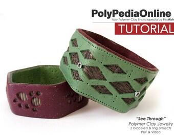 Polymer Clay Tutorial, Polymer Clay Jewelry, Polymer Clay Beads, Bracelet Tutorial, Ring Tutorial, PDF Jewelry Tutorial, Video Tutorial,Fimo