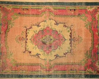 Carpet Rug Floral 6.5' x 9.5' Pastel Green Overdyed Vintage