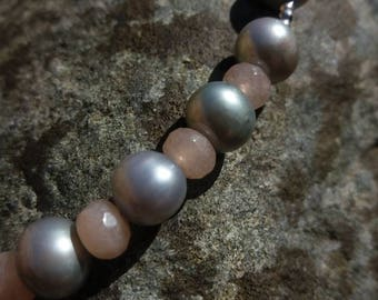 Freshwater pearl, peach moonstone and sterling silver necklace