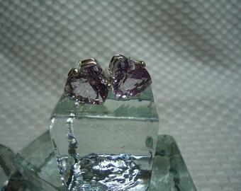 Trillion Cut Rose de France Amethyst Earrings in Sterling Silver   #1913