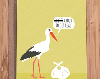 funny baby shower card / stork / MATURE