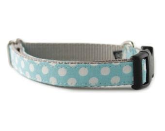 Blue Dog Collar - Light Blue White Polka Dot Dog Collar - Ice Blue Dot Dog Collar - boy dog collar - girl dog collar