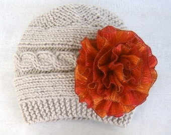 READY TO SHIP Baby Girl Hats - Baby Girl Knit Hat - Knit Newborn Hat - Baby Hat with flowers-Baby Winter Hat