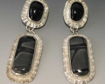 Striking Black Jade and Picasso Marble Dangle Earrings in Sterling Silver - FREE Shipping