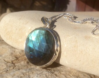 Gemstone Necklace, Labradorite Silver Pendant, Labradorite Round Stone Silver Necklace, Large Labradorite Necklace, Gift for Her