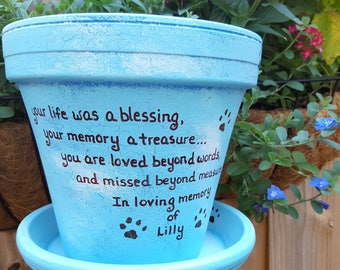 Pet Loss Gift - Dog Memorial - Cat Memorial - Pet Sympathy Gift - Painted Flower Pot - Animal Memorial