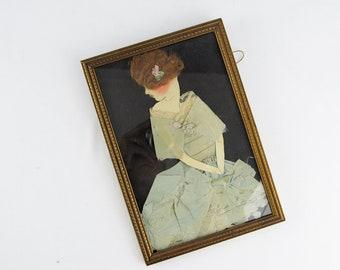 Art Doll wall art, handmade mixed media doll, minimalist 1920s art, textile art