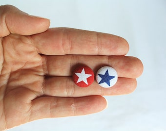 Petite Red, White and Blue Mix 'n Match Star Fabric Button Earrings, Patriotic Earrings, 4th of July, Earring Post/Stud