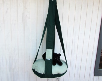 Outdoor Cat Bed, Deep Forest Green, Green & White Circle Hanging Cat Bed, Pet Furniture, Cat Tree, Indoor Outdoor Cat Bed