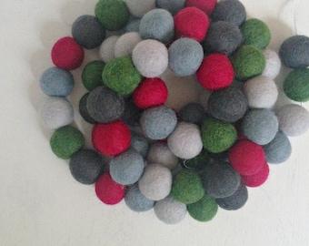 Pom Pom Garland - Felt Ball Christmas Garland - Holiday Mantle Decor - Red, Green & Blue Garland - Holiday Garland - Noel